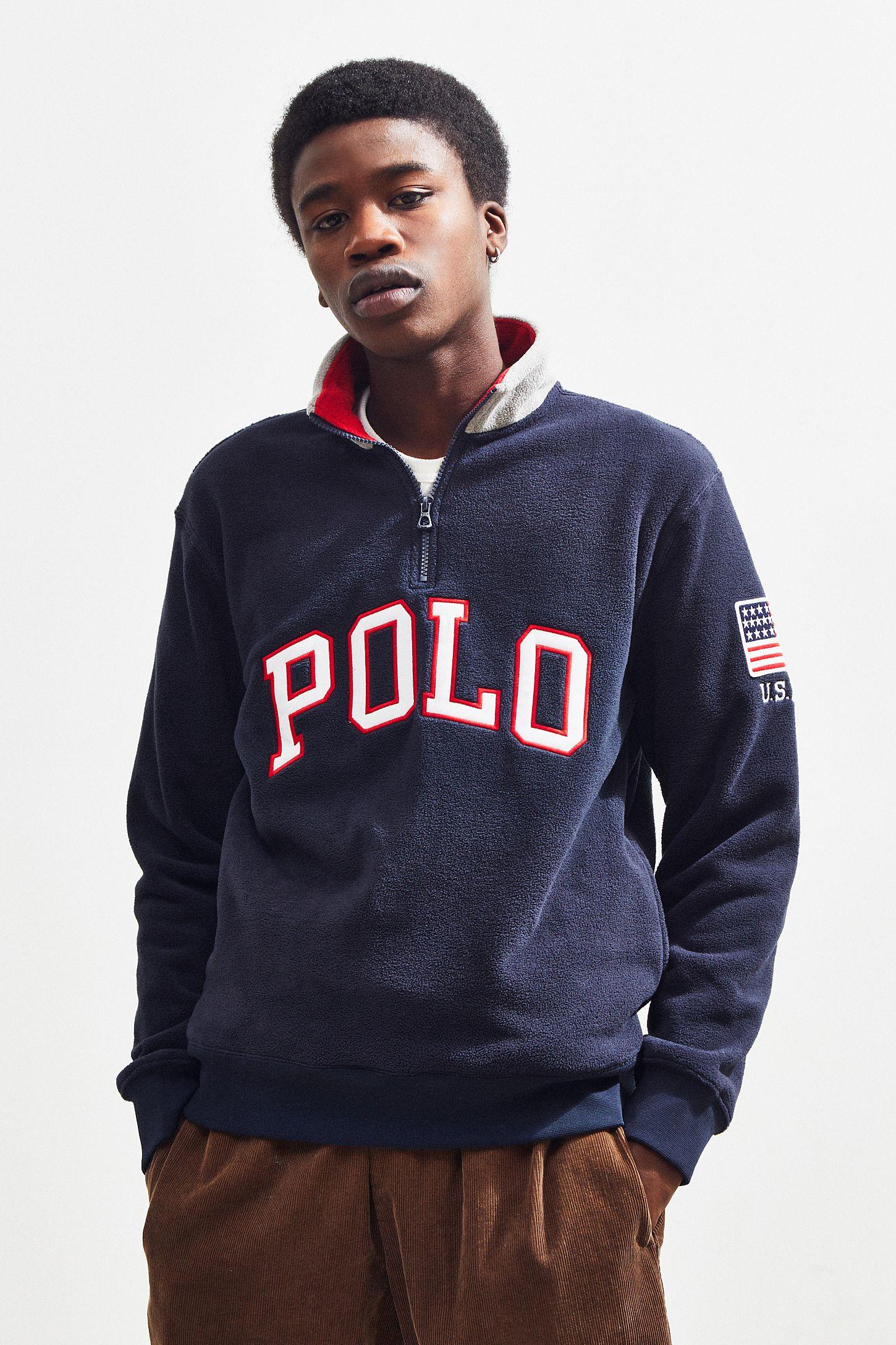 Zip Lauren Half Sweatshirt Polar Ralph Polo Fleece w0vmN8nO