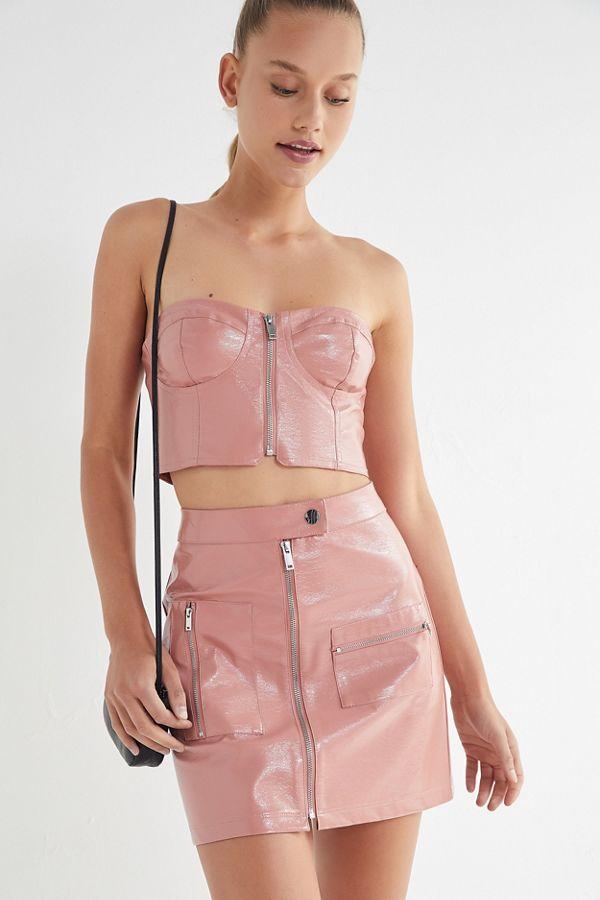 5f6bc0d414 UO Selena Zip-Front Patent Mini Skirt