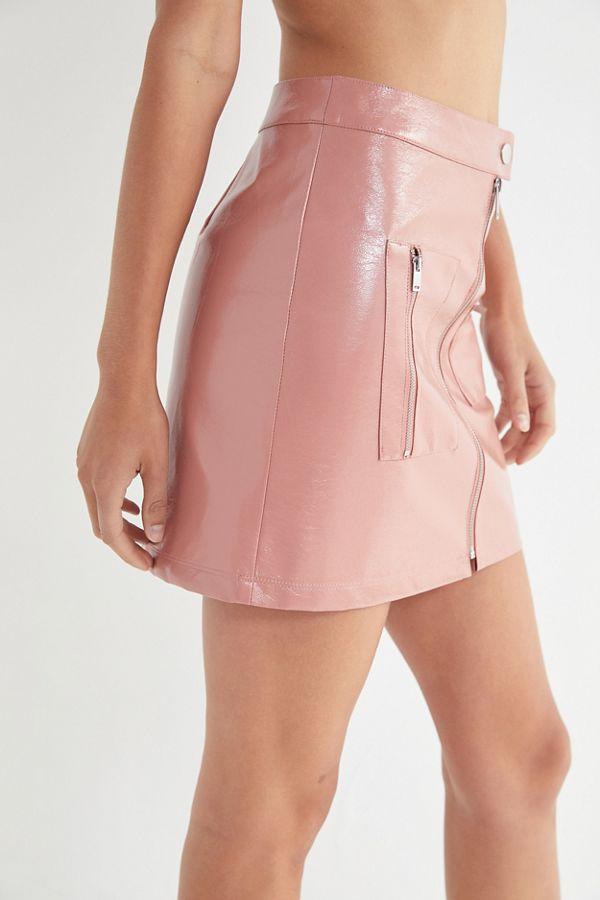 405cfd1034 Slide View  3  UO Selena Zip-Front Patent Mini Skirt