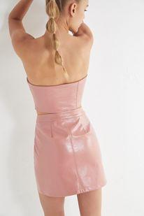 6f77be625e Slide View  4  UO Selena Zip-Front Patent Mini Skirt