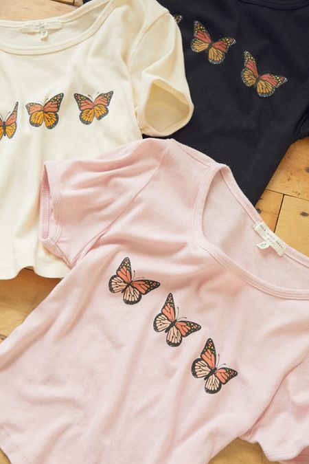 Truly Madly Deeply Butterfly Cropped Tee 851e85c3b