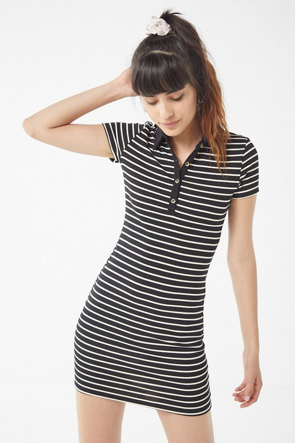 5f7033b31e4b UO Striped Button-Down Polo Mini Dress | Urban Outfitters