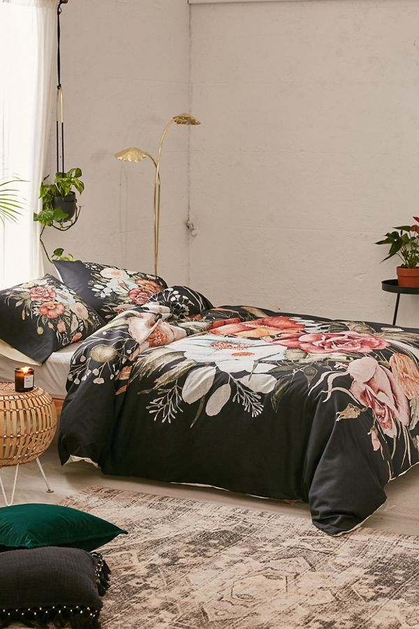 Slide View: 3: Shealeen Louise For Deny Roses And Poppies Bouquet Duvet Cover