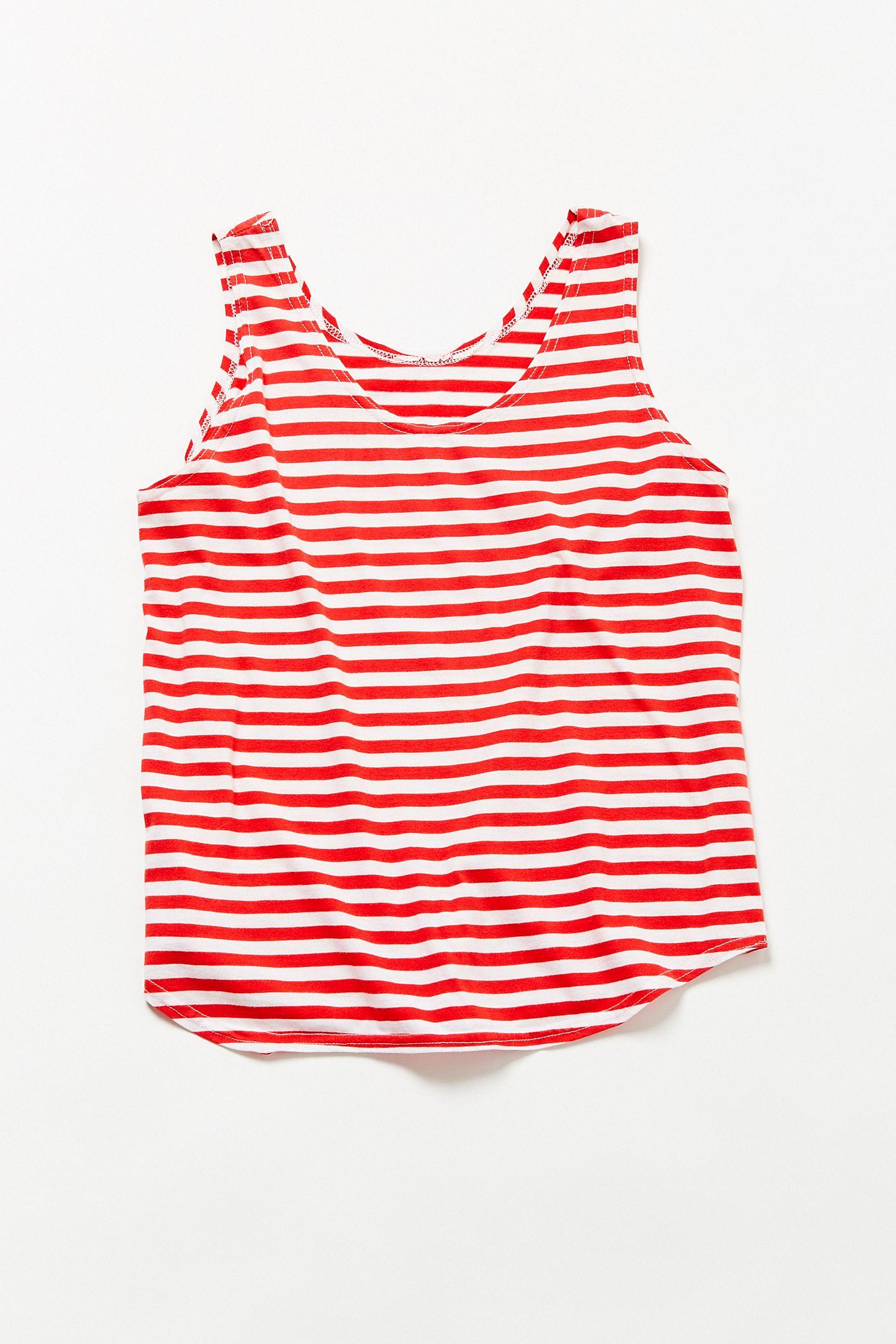 7488e649967711 Vintage  90s Red + White Striped Tank Top