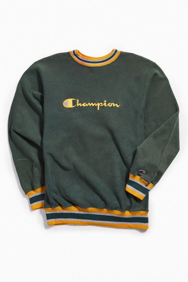 ba7705b8fcdb Vintage Champion Green Ringer Crew Neck Sweatshirt | Urban Outfitters