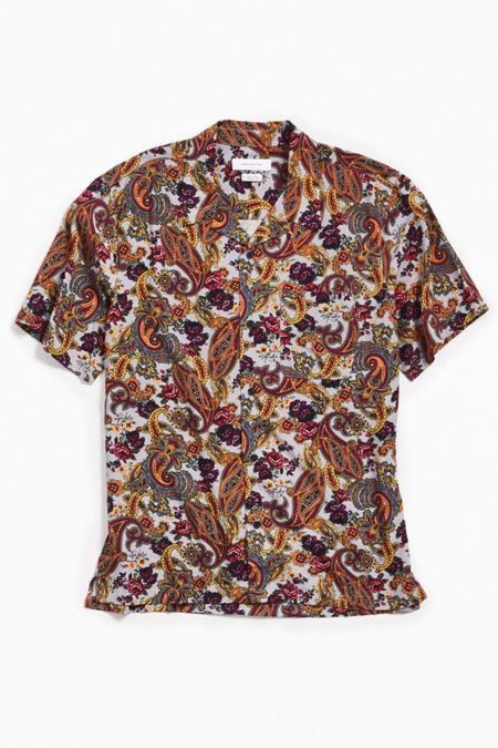 1646d658a27 UO Ornate Paisley Rayon Short Sleeve Button-Down Shirt