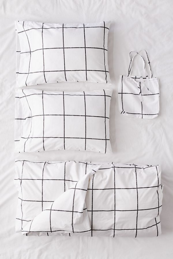 Slide View: 1: Distressed Check Duvet Set