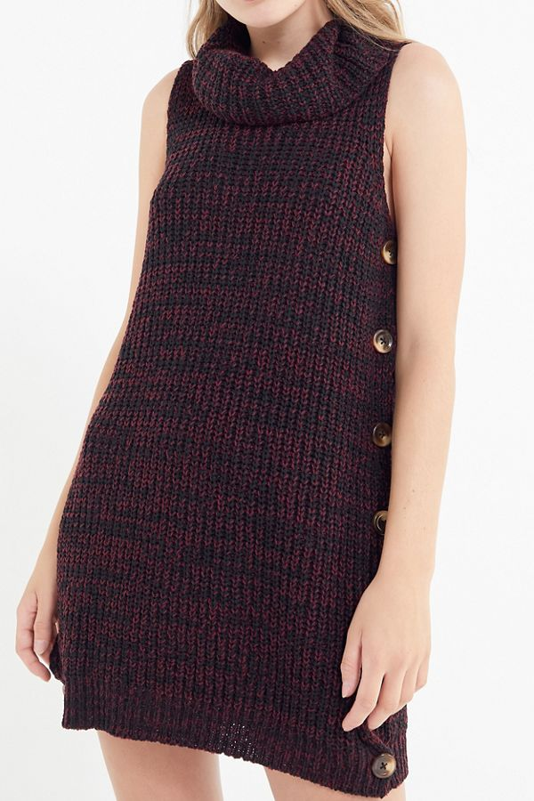 770b848f0e45 UO Side-Button Turtleneck Sweater Dress | Urban Outfitters