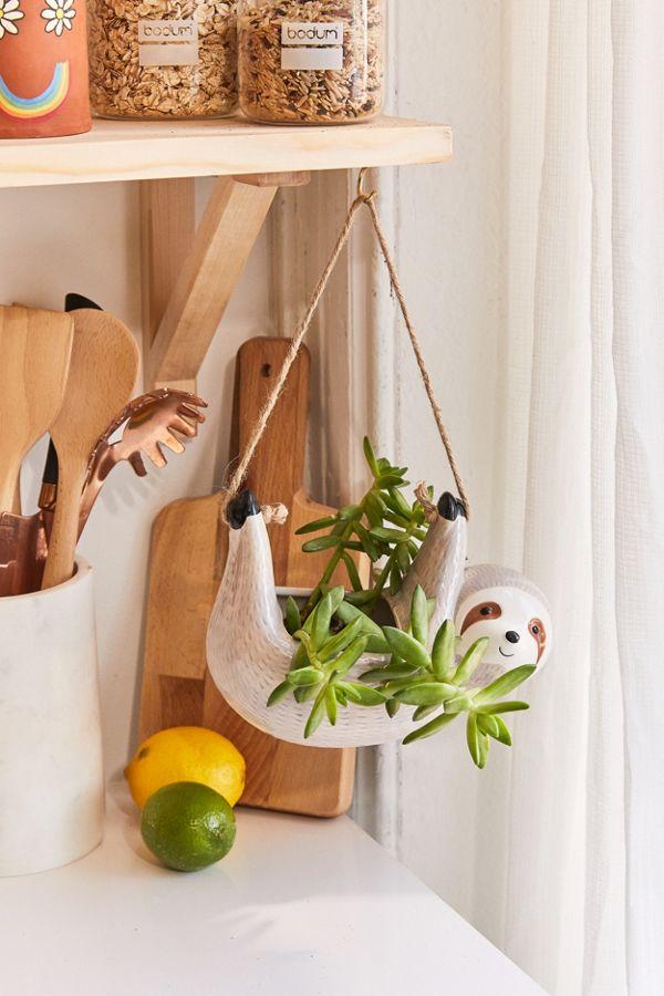 Slide View: 1: Sloth Hanging Planter