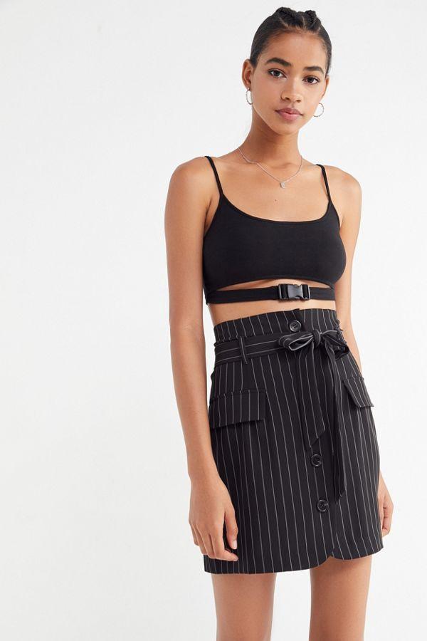 4d030aa356 UO Menswear Pinstripe Button-Front Skirt