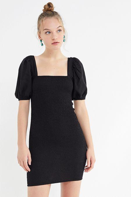 b37c618f6f UO Carnation Smocked Puff Sleeve Mini Dress