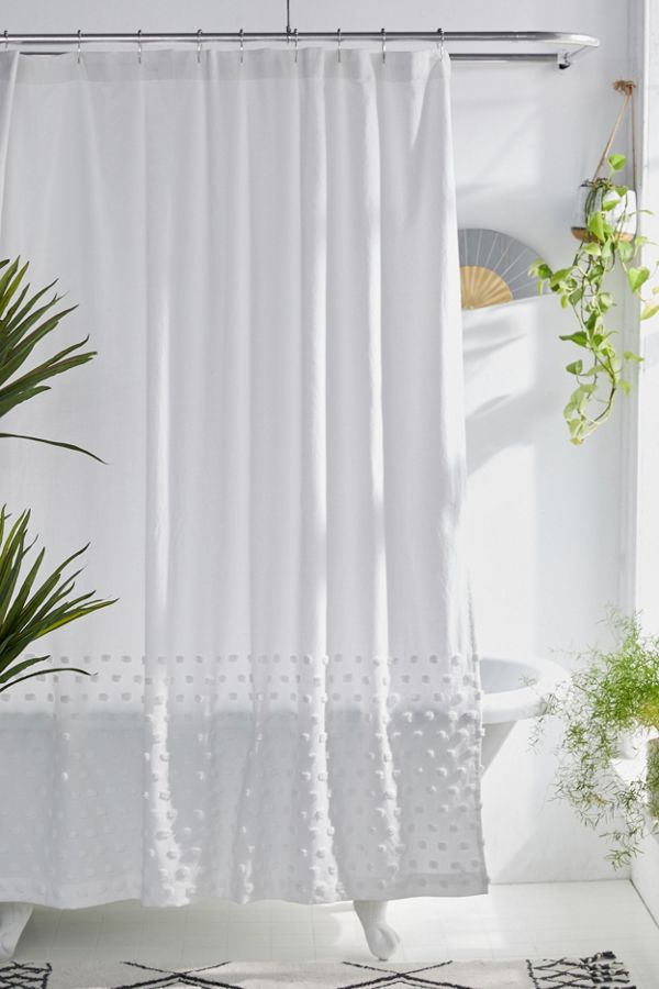 Slide View: 1: Tufted Dot Shower Curtain