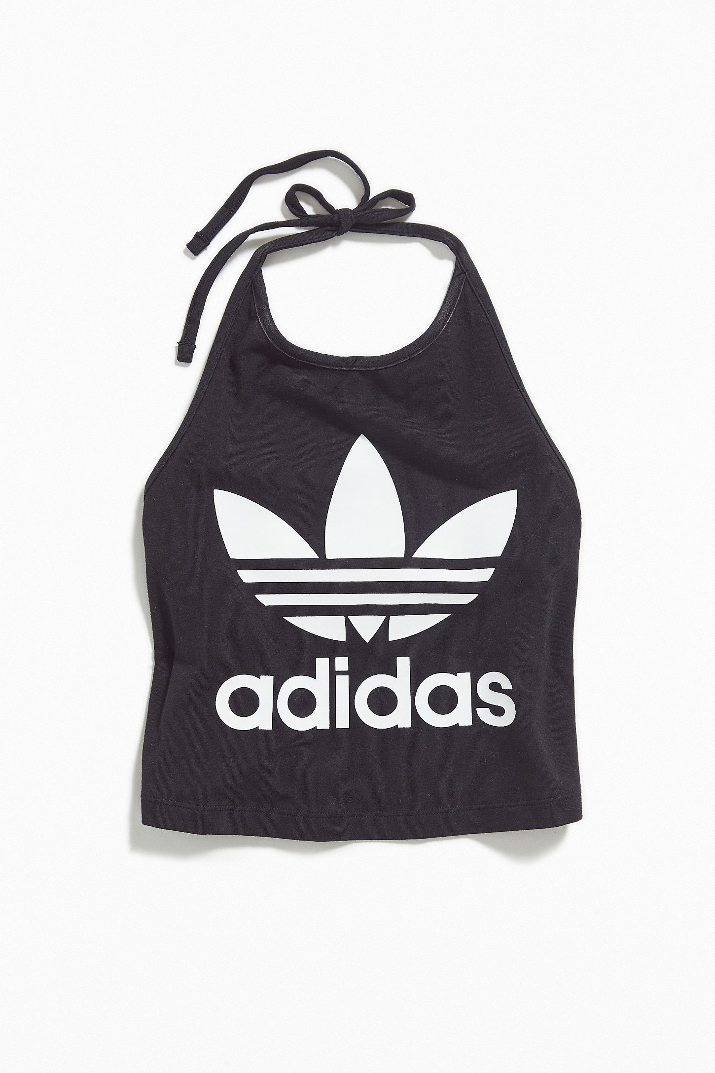 a4d72320 adidas Trefoil Cropped Halter Tank Top   Urban Outfitters