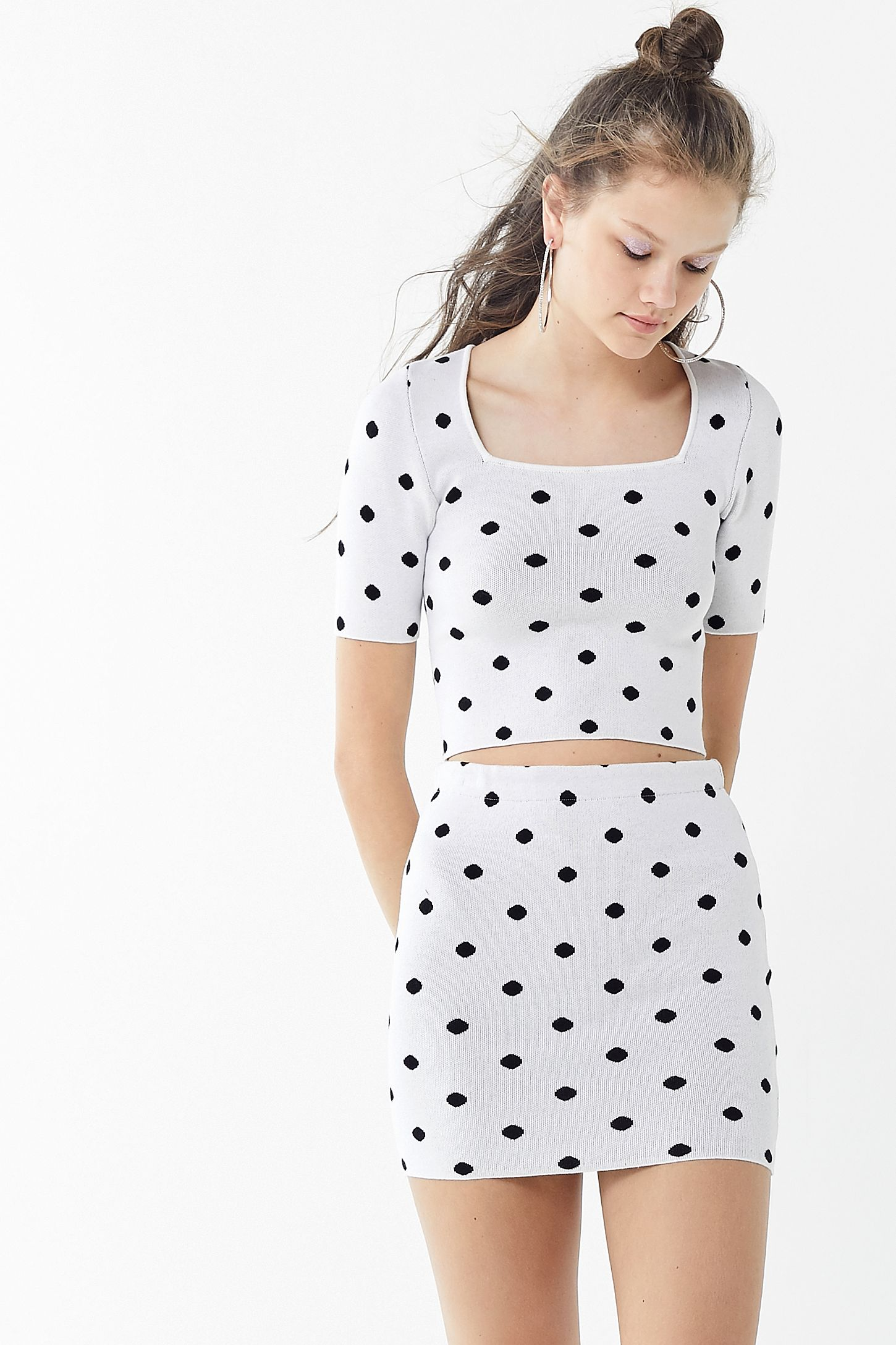 7ddd61141f UO Polka Dot Bodycon Mini Skirt