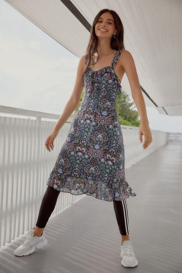 4f44b04ab78b9 UO Magnolia Lace-Up Ruffle Dress | Urban Outfitters