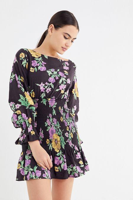 612d6cd45c UO Leandra Smocked Long Sleeve Mini Dress