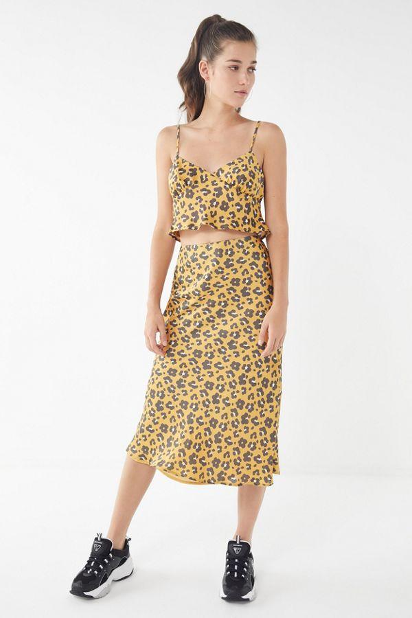 91b49f3a34 4SI3NNA Quinn Animal Print Satin Skirt | Urban Outfitters