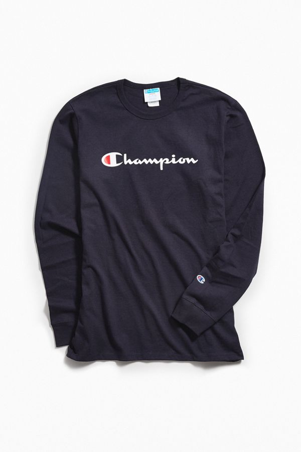 4370dd200 Champion Script Ink Logo Long Sleeve Tee | Urban Outfitters