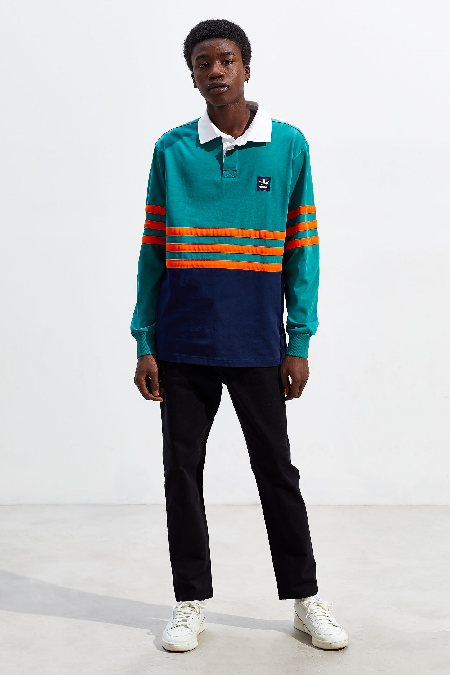 51be93f1 adidas Winchell Long Sleeve Polo Shirt | Urban Outfitters
