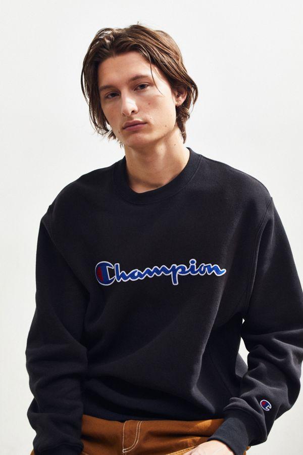 64e4194de91c Champion Chain Stitch Script Crew Neck Sweatshirt | Urban Outfitters