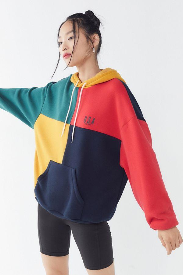 68084f2a U.S.A. Colorblock Hoodie Sweatshirt | Urban Outfitters