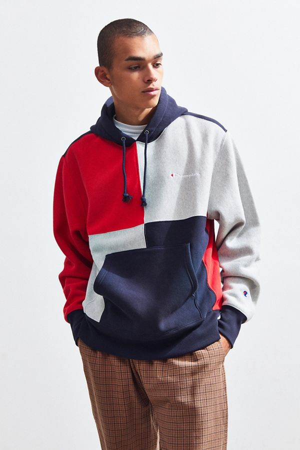 8c97f910 Champion Navy Colorblock Hoodie Sweatshirt