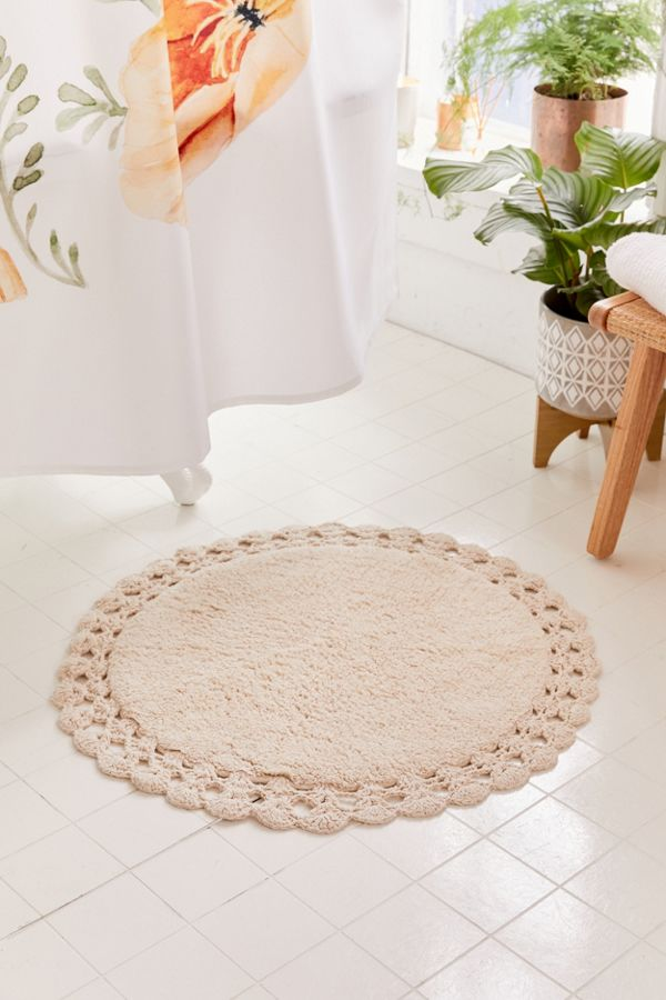 Slide View: 1: Round Crochet Trim Bath Mat