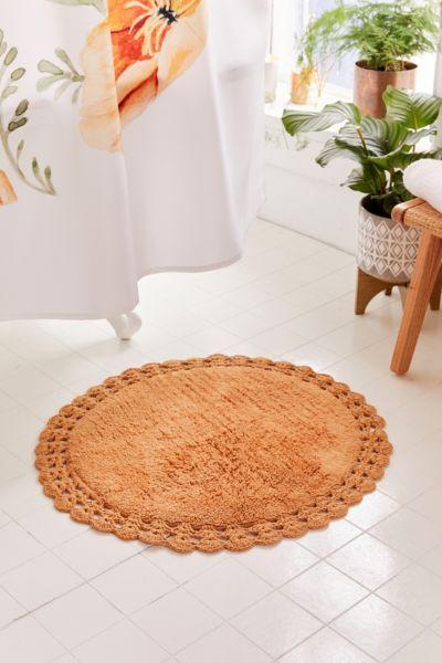 Round Crochet Trim Bath Mat Urban Outfitters