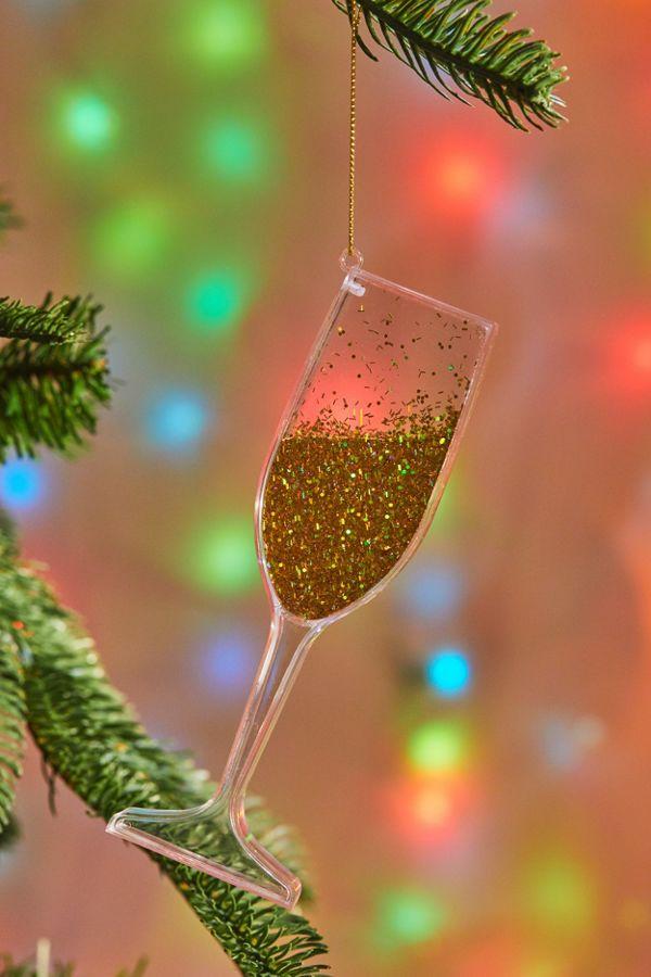 Glitter Wine Glass Christmas Ornament