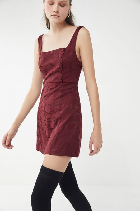 0516cb227a UO Hallie Embroidered Square-Neck Mini Dress