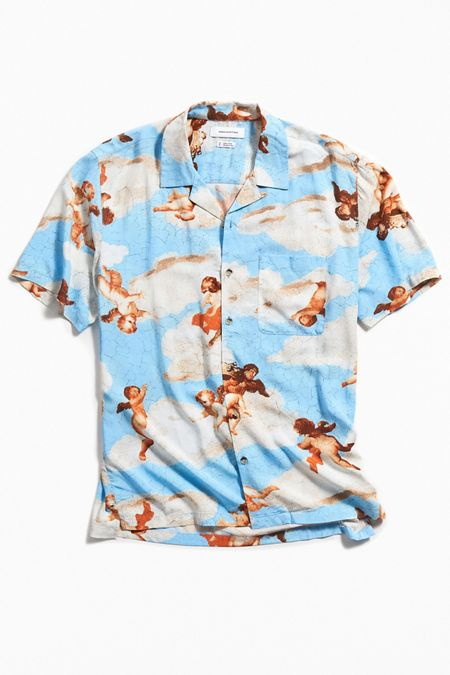 403475331e1 UO Cherub Rayon Short Sleeve Button-Down Shirt
