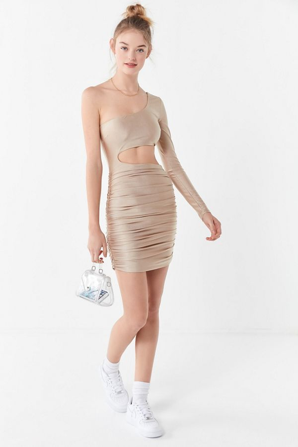 well known fashion style wholesale dealer Tiger Mist Sammi Ruched One-Shoulder Mini Dress