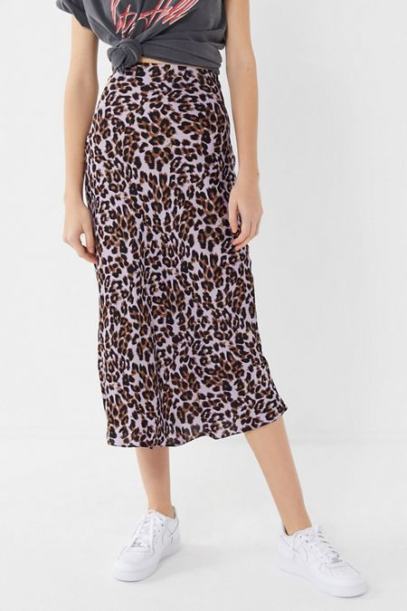 8f830a4ea0 UO Satin Bias Cut Midi Slip Skirt. Quick Shop