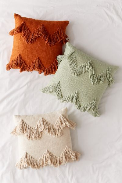 Earthy Fringe Throw Pillow