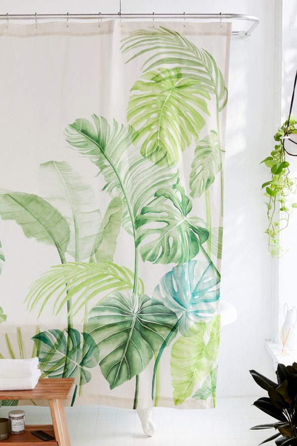 Slide View: 1: Watercolor Tropical Shower Curtain