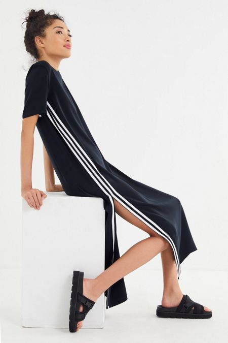 3a2d544cc25322 adidas 3-Stripe Side-Slit Maxi Dress