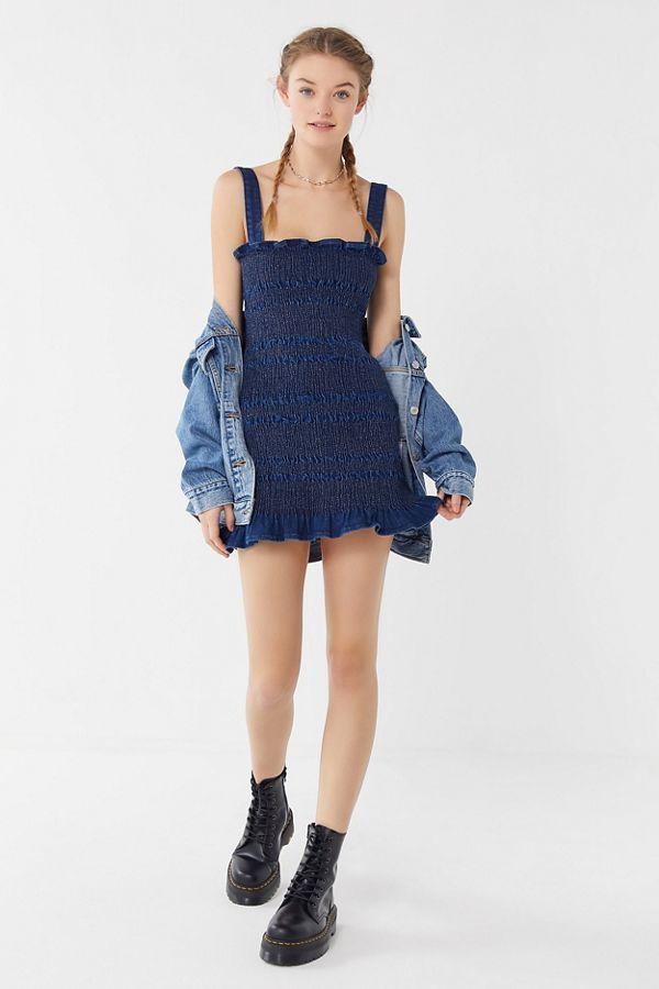 55ac66ba49 UO Sofia Denim Smocked Mini Dress | Urban Outfitters Canada