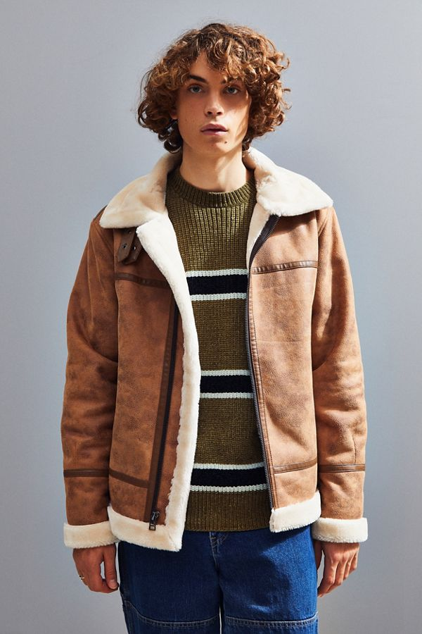 aaf0391db UO Faux Shearling Aviator Jacket