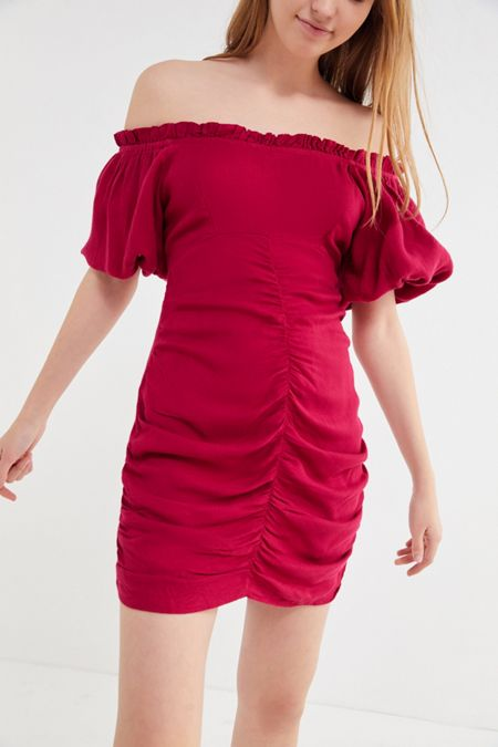 a4777944ac UO Ruched Off-The-Shoulder Mini Dress