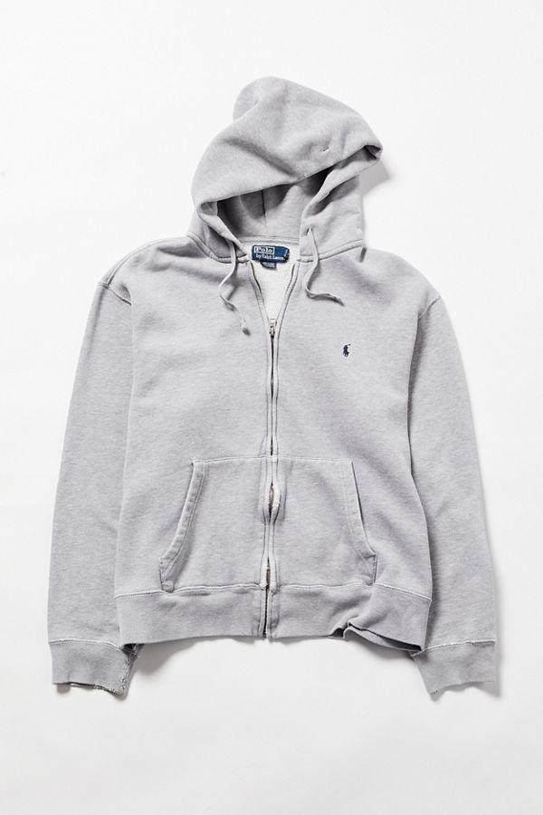 c6cf75c36b2 Vintage Polo Ralph Lauren Grey Zip-Front Hoodie Sweatshirt