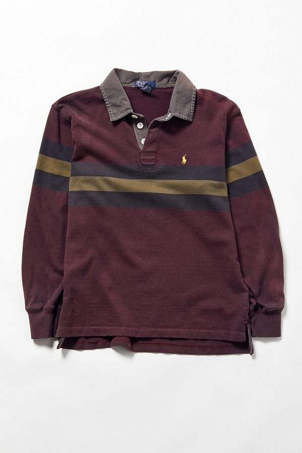167b18e5c356 Vintage Polo Ralph Lauren Block Stripe Long Sleeve Rugby Shirt ...