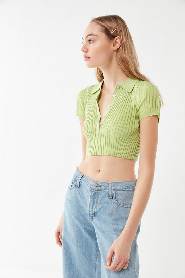 0a154cbb995 UO Grassy Cropped Polo Shirt | Urban Outfitters