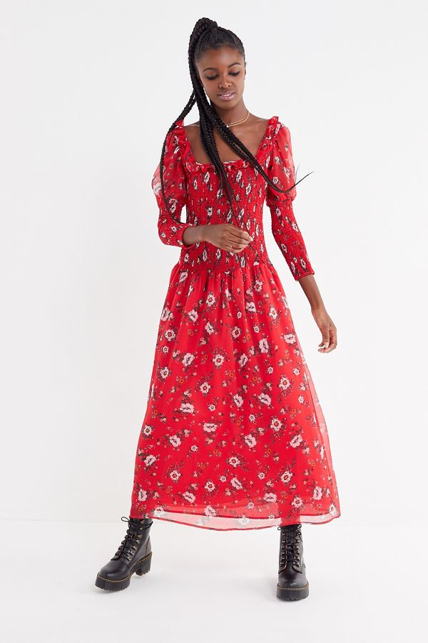 ad4e8f69b2 UO Greta Floral Smocked Puff Sleeve Maxi Dress | Urban Outfitters
