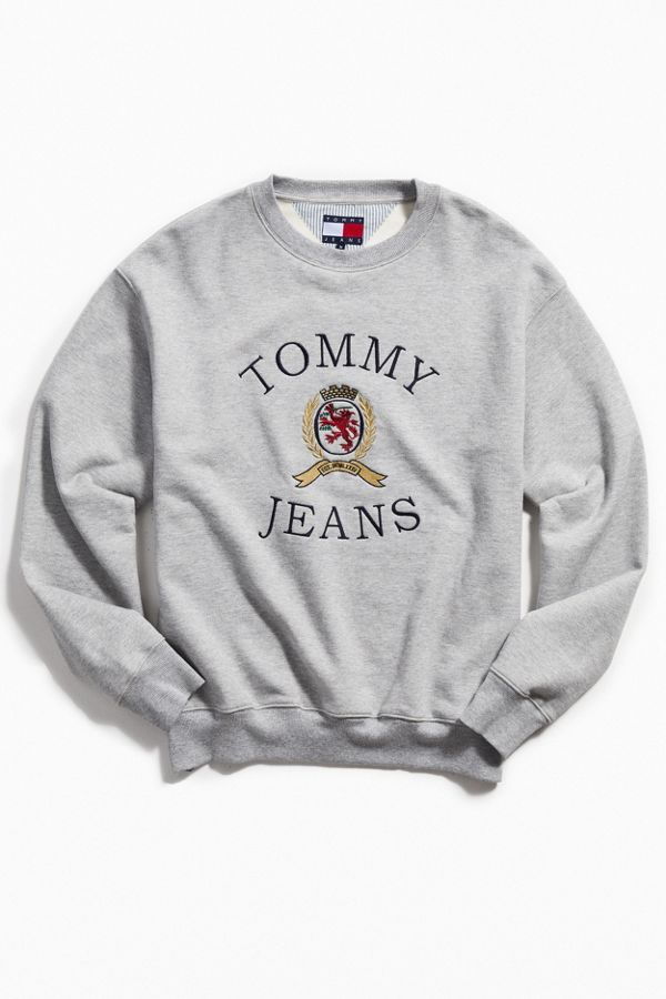 0555f44d Tommy Jeans Crest Logo Crew-Neck Sweatshirt | Urban Outfitters