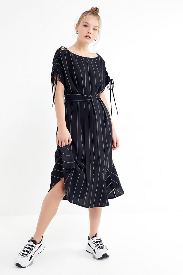 64a5d8d86a0 Moon River Linen Tie-Sleeve Midi Dress