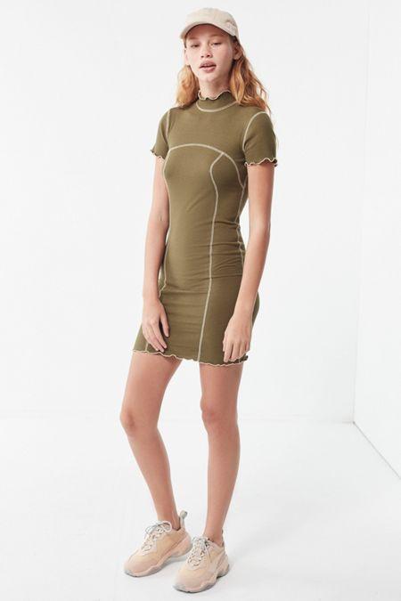 eb58efa5c1 UO Erin Contrast Stitch Mock-Neck Mini Dress