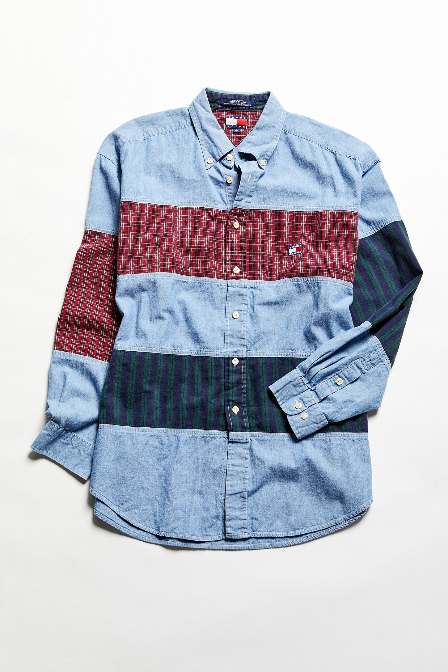 1a0434c3 Vintage Tommy Hilfiger Oversized Plaid Stripe Chambray Button-Down ...