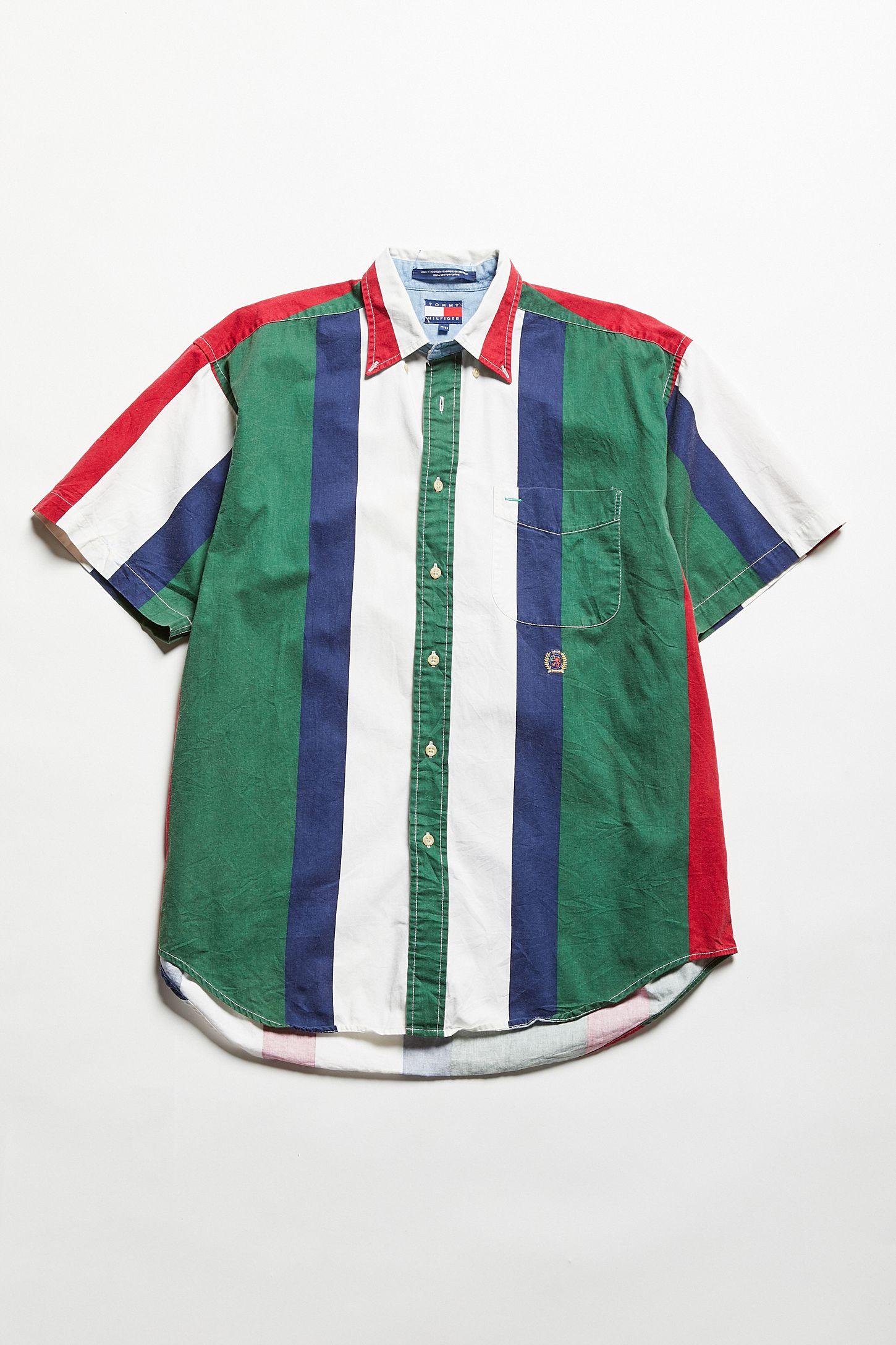 d9bc63966a Vintage Tommy Hilfiger Short Sleeve Multicolor Stripe Button-Down ...