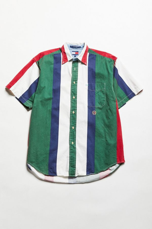 aac6adee0 Vintage Tommy Hilfiger Short Sleeve Multicolor Stripe Button-Down ...