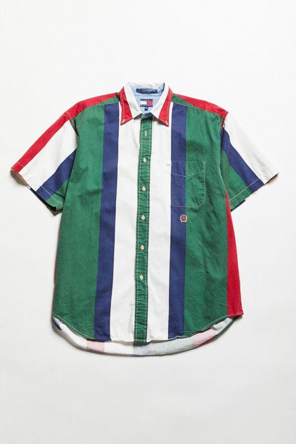 06a497dc Vintage Tommy Hilfiger Short Sleeve Multicolor Stripe Button-Down ...